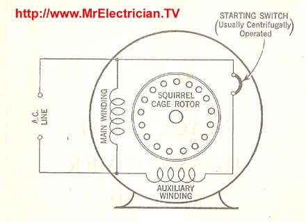 Split Phase Induction Electric Motor